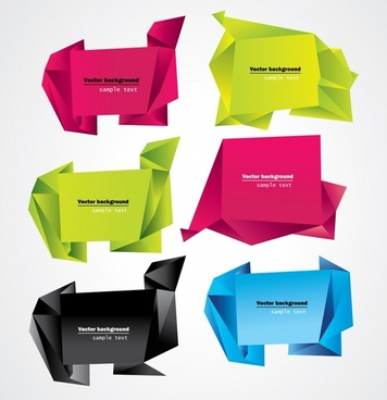 decorative origami templates shiny colored 3d shapes sketch