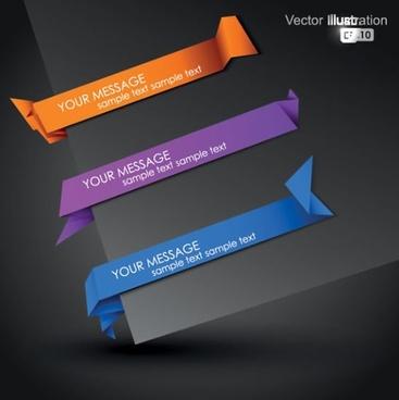 decorative origami tab templates modern elegant 3d shapes