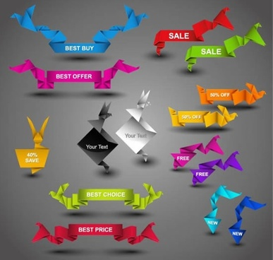 sale tags templates colorful 3d origami shapes