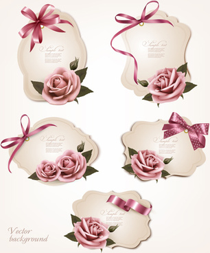 beautiful paper labels bows vector