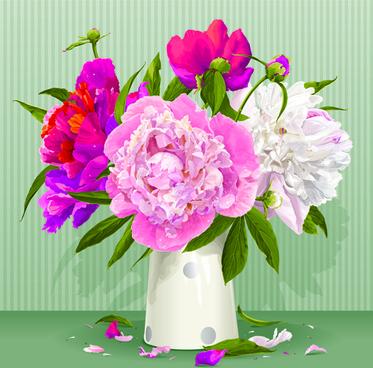 beautiful peonies flower design vector