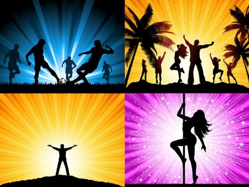beautiful people silhouette vector