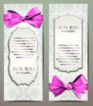 beautiful pink bow cards vector