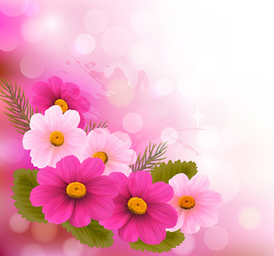 Red and pink flower spring background set free vector download beautiful pink flowers vector background set mightylinksfo