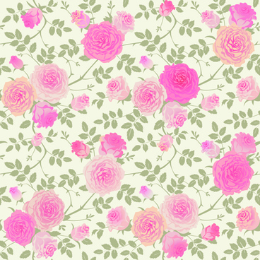 beautiful pink rose seamless pattern vector