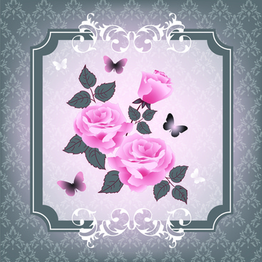 beautiful pink roses with vintage background vector