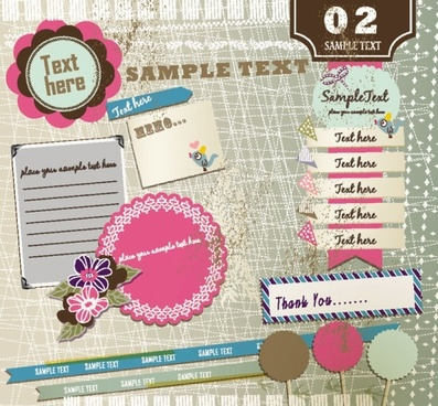 beautiful pink stickers element 01 vector