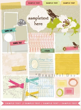 beautiful pink stickers elements 02 vector