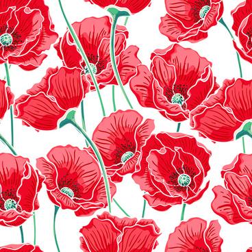 beautiful poppy seamless pattern set vector