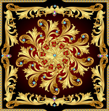 beautiful precious stones and diamonds floral pattern vector