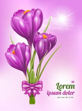 beautiful purple flower card vectors