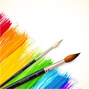 beautiful rainbow paint design vector