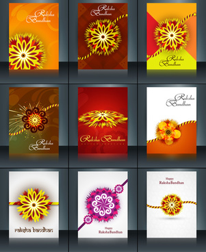 beautiful raksha bandhan brochure template collection set reflection vector