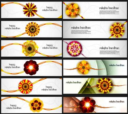beautiful raksha bandhan celebration colorful 21 headers vector