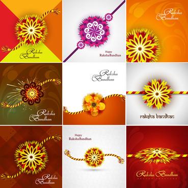 beautiful raksha bandhan celebration presentation card set collection colorful background vector