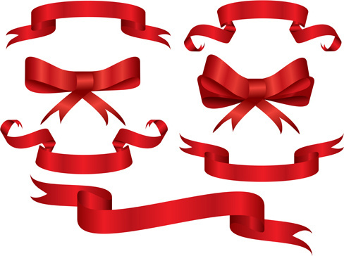 beautiful red ribbon banners set vector