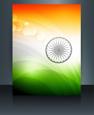 beautiful republic day brochure template for stylish indian flag tricolor vector
