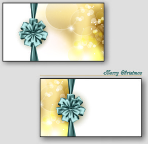 beautiful ribbon bow christmas cards vector