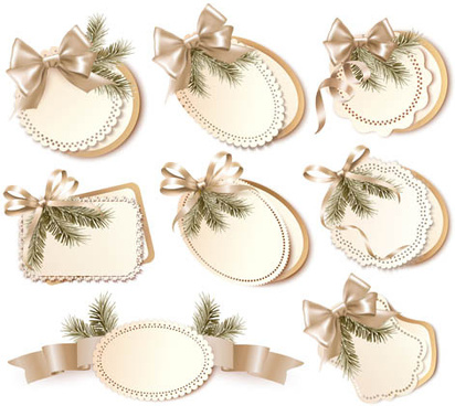 beautiful ribbon bow with cards vectors