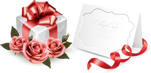 beautiful ribbon flower cards vector