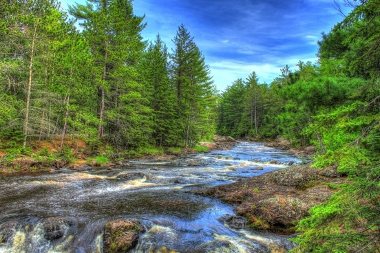 beautiful river landscape at amnicon falls state park wisconsin