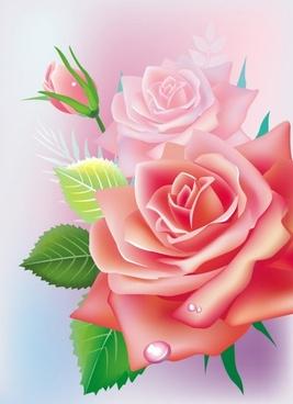 beautiful roses 02 vector