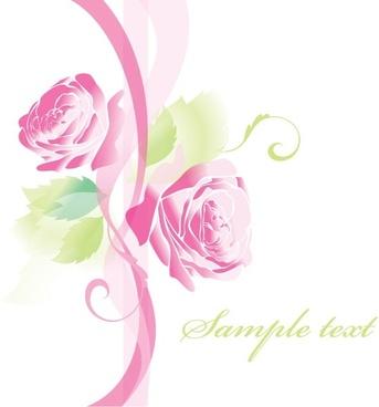 beautiful roses greeting cards 02 vector