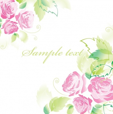 decorative card background template bright colored roses sketch