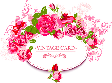 beautiful roses with vintage cards creative vector