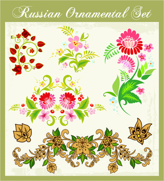 beautiful russian style ornaments design vector