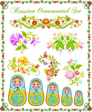 beautiful russian style ornaments design vector