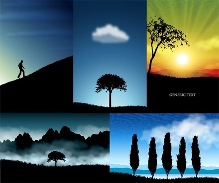beautiful scenery silhouette vector