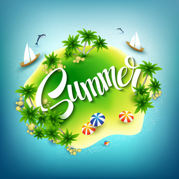 beautiful sea island summer vector background
