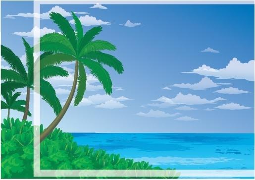beautiful sea landscape vector