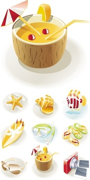 beautiful seaside tourist theme icon vector 2