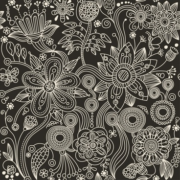 floral blossom background classical black white sketch