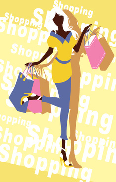 beautiful shopping girl vector