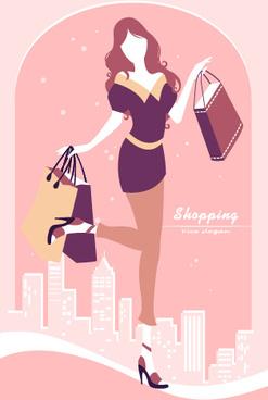 beautiful shopping girl vector