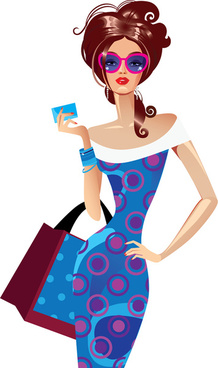 beautiful shopping girls illustration vector