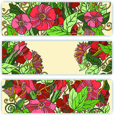 beautiful sketch floral vector banners