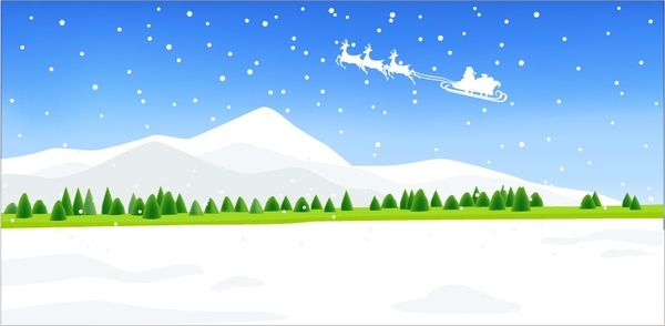 christmas background flying sleigh snowfall scenery icons