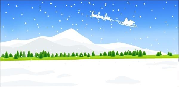christmas background flying sleigh snowfall scenery icons