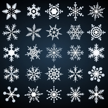snowflakes icons collection classical symmetrical shapes