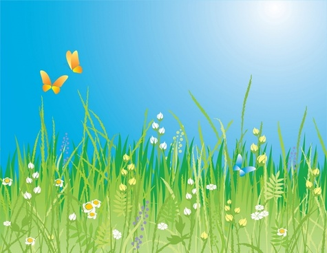 spring background modern design colorful flowers butterflies icons