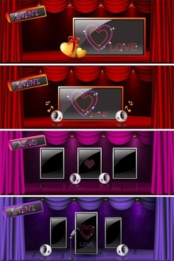 beautiful stage curtain vector 2