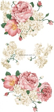 beautiful style of handpainted peony flower psd layered
