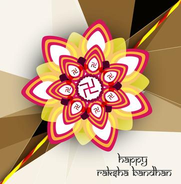 beautiful stylish hindu rakhi card colorful background vector design