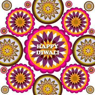 beautiful stylish rangoli happy diwali colorful hindu diya festival background