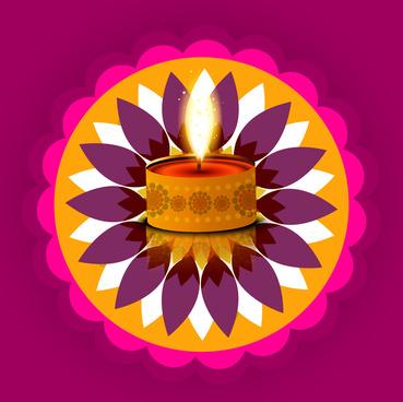 Beautiful Stylish Rangoli Happy Diwali Colorful Hindu Diya Festival Background