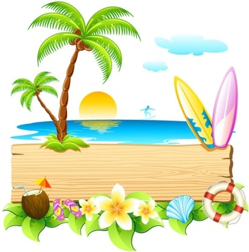 beautiful summer card 01 vector